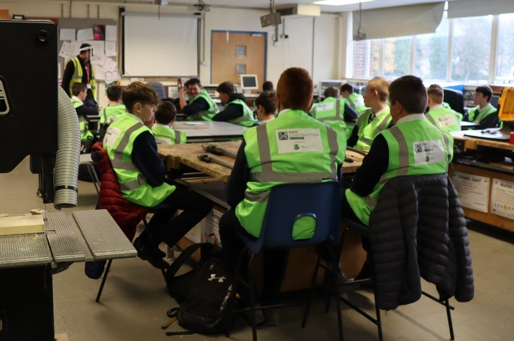 Children in the classroom at Llanfyllin High School